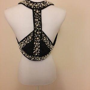 Meghan Fabulous Beaded Peace Sign Harness Vest S